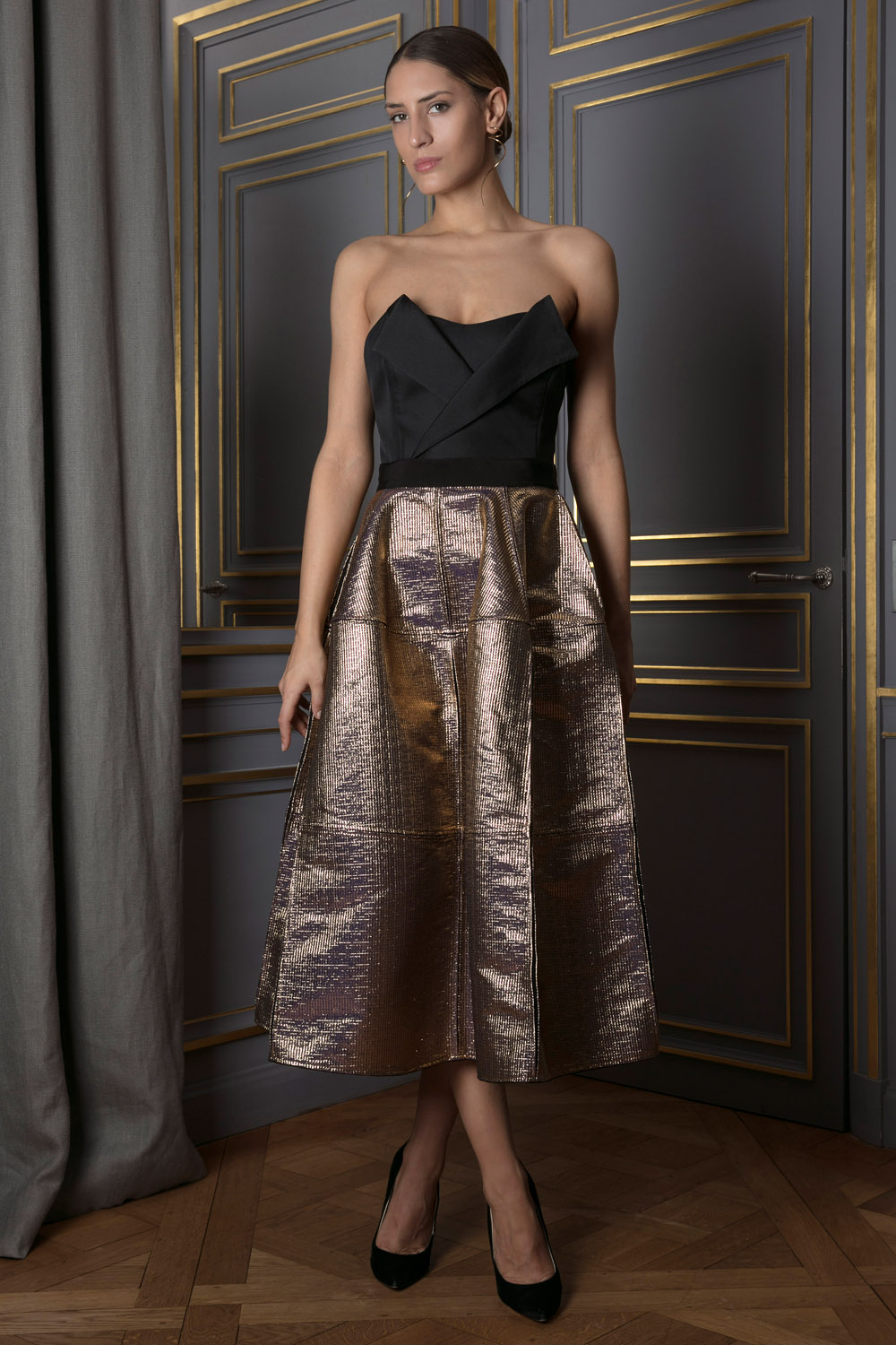 Metallic gold midi skirt