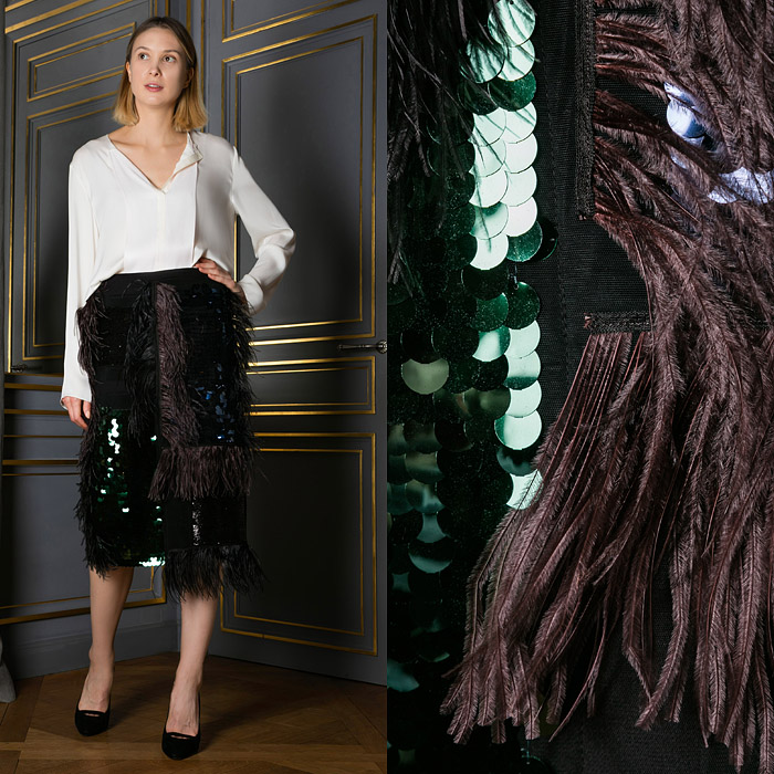 Straight skirt with sequin and feather detailing