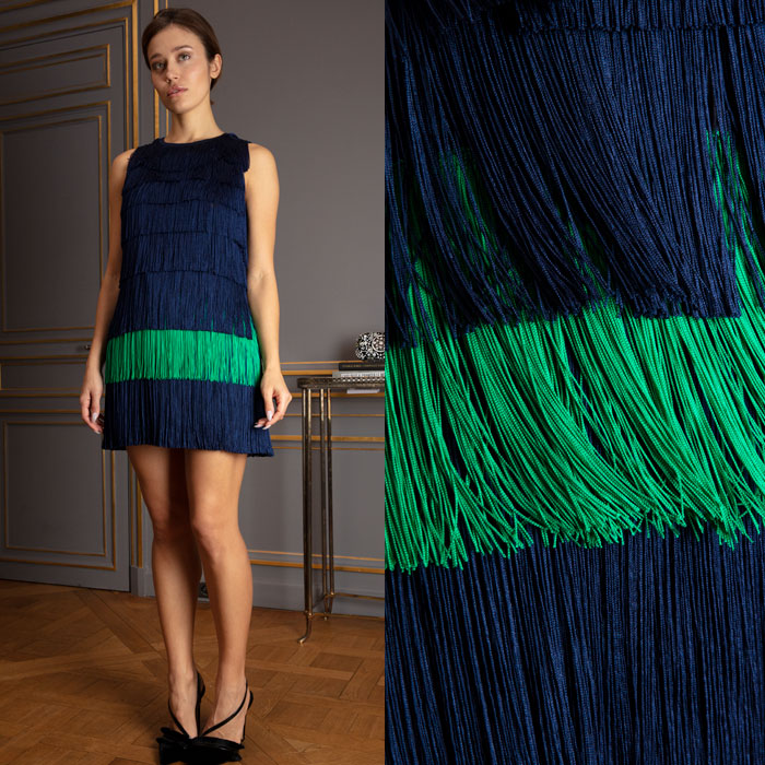 Mini dress with tiered fringes in cobalt blue and grass green
