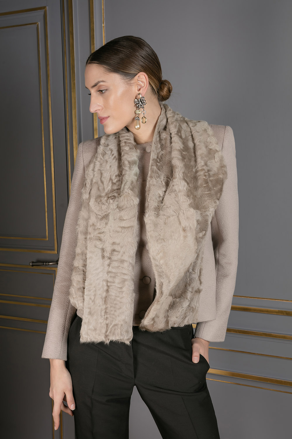 Beige cashmere coat with a silk lamb overlay