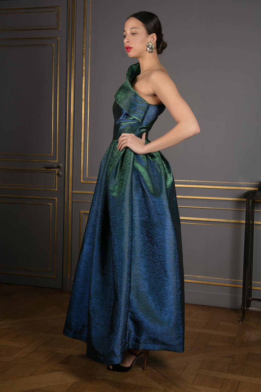 Floor-length chameleon dress