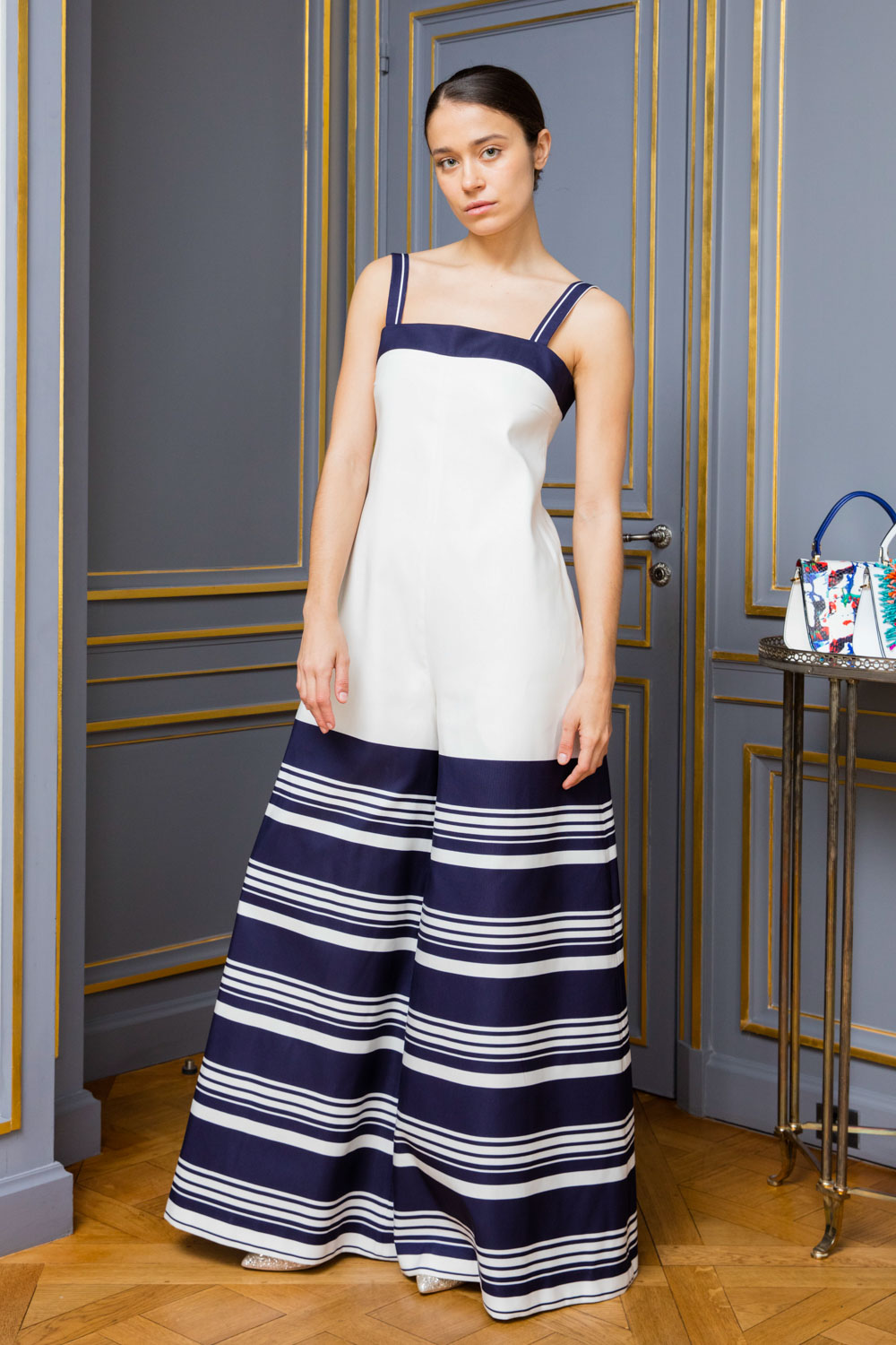 d83b73804578 boutiquelessuites.com - LesSuitesOnline buy Martin Grant - Navy and white  striped ultra-wide-leg jumpsuit on our website