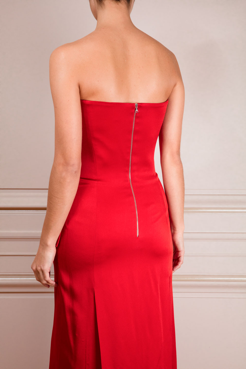 Scarlet bustier coat-dress with integrated satin corset