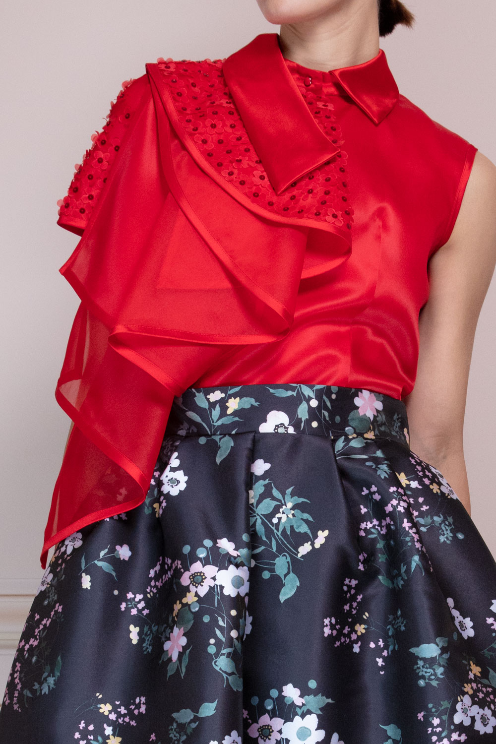 Silk organza top with couture draping embellished with silk flowers with sequins centres