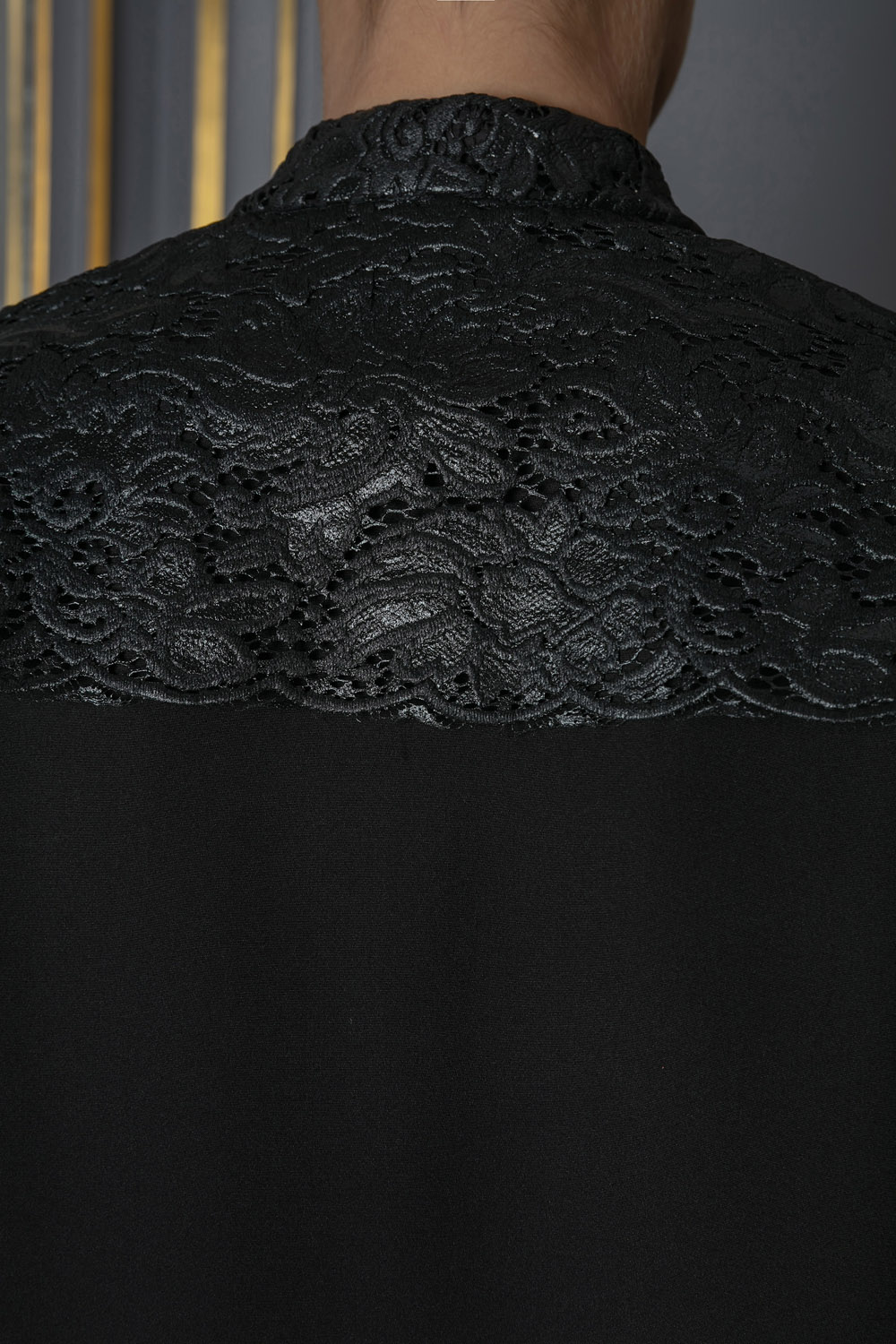Black shirt with lace detailing