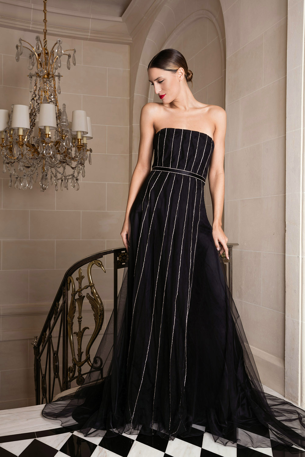 Exclusive black sleeveless gown