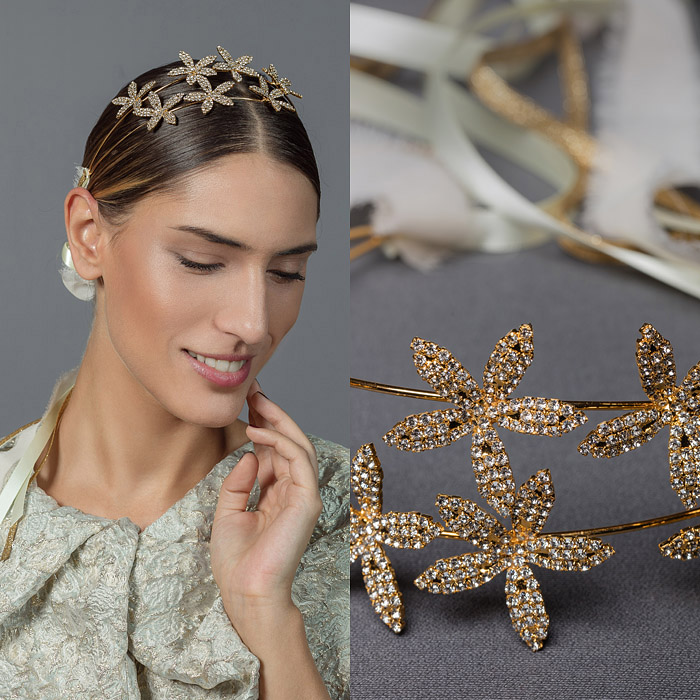 DOUBLE STRAND GOLD METAL HEAD PIECE ENCRUSTED WITH SWAROVSKI CRYSTALS