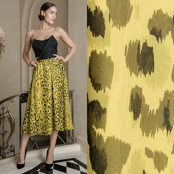 Yellow leopard print skirt