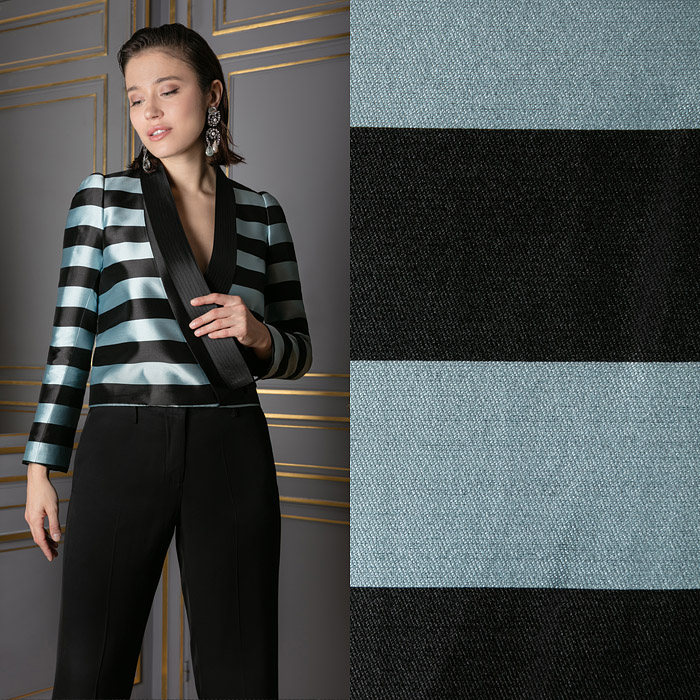 Metallic blue and black striped jacket