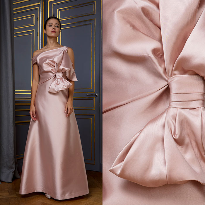 Full length Duchesse satin evening gown in ballet-slipper pink