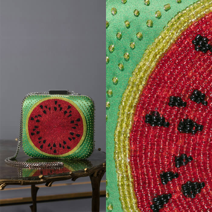 Green handcrafted embroidered and beaded watermelon motif clutch bag