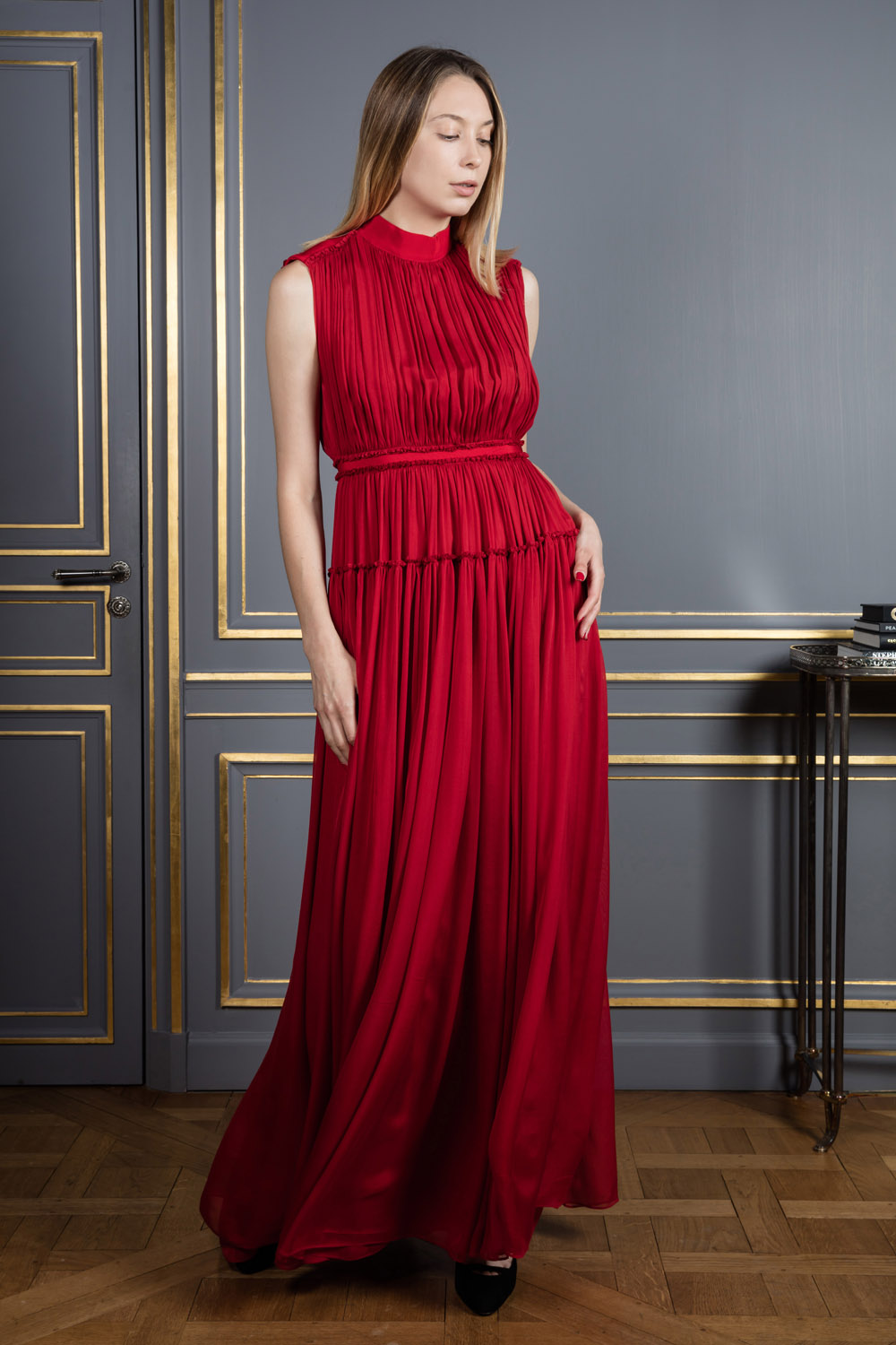 Floor-length high-neckline statement dress