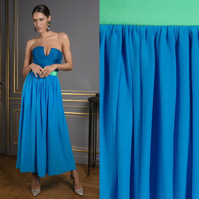 Blue and green ankle-length skirt