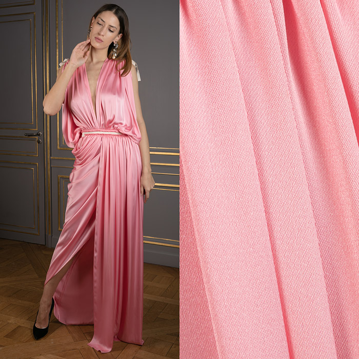 Draped charmeuse gown in pink