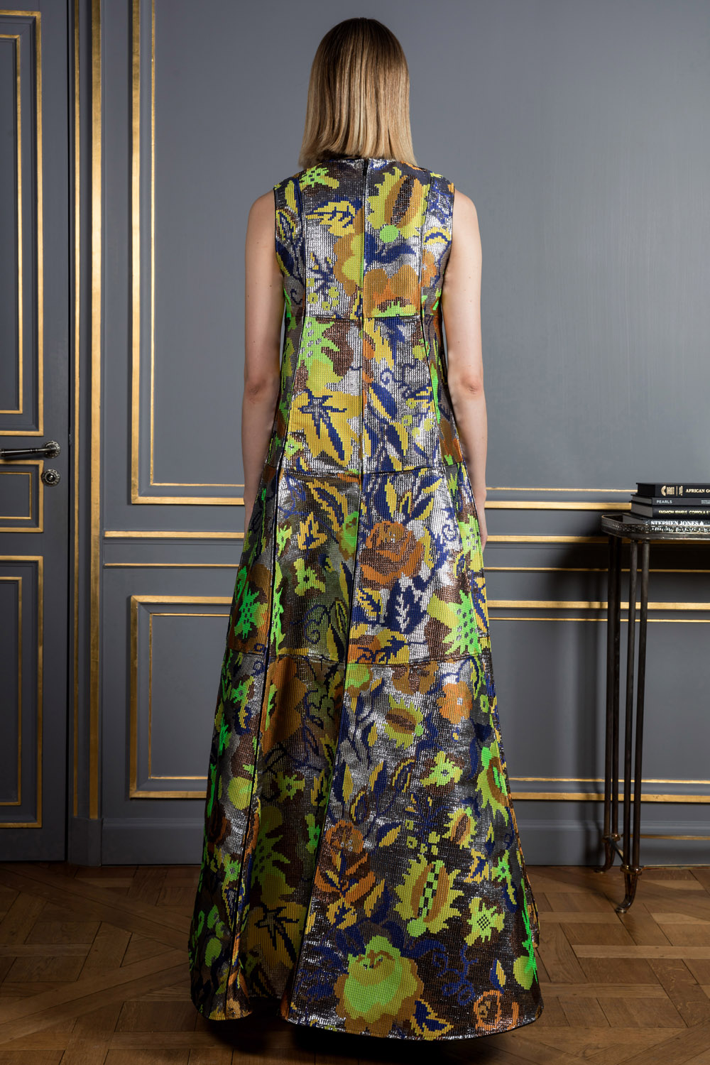 Metallic with earthy coloured flowers shift dress