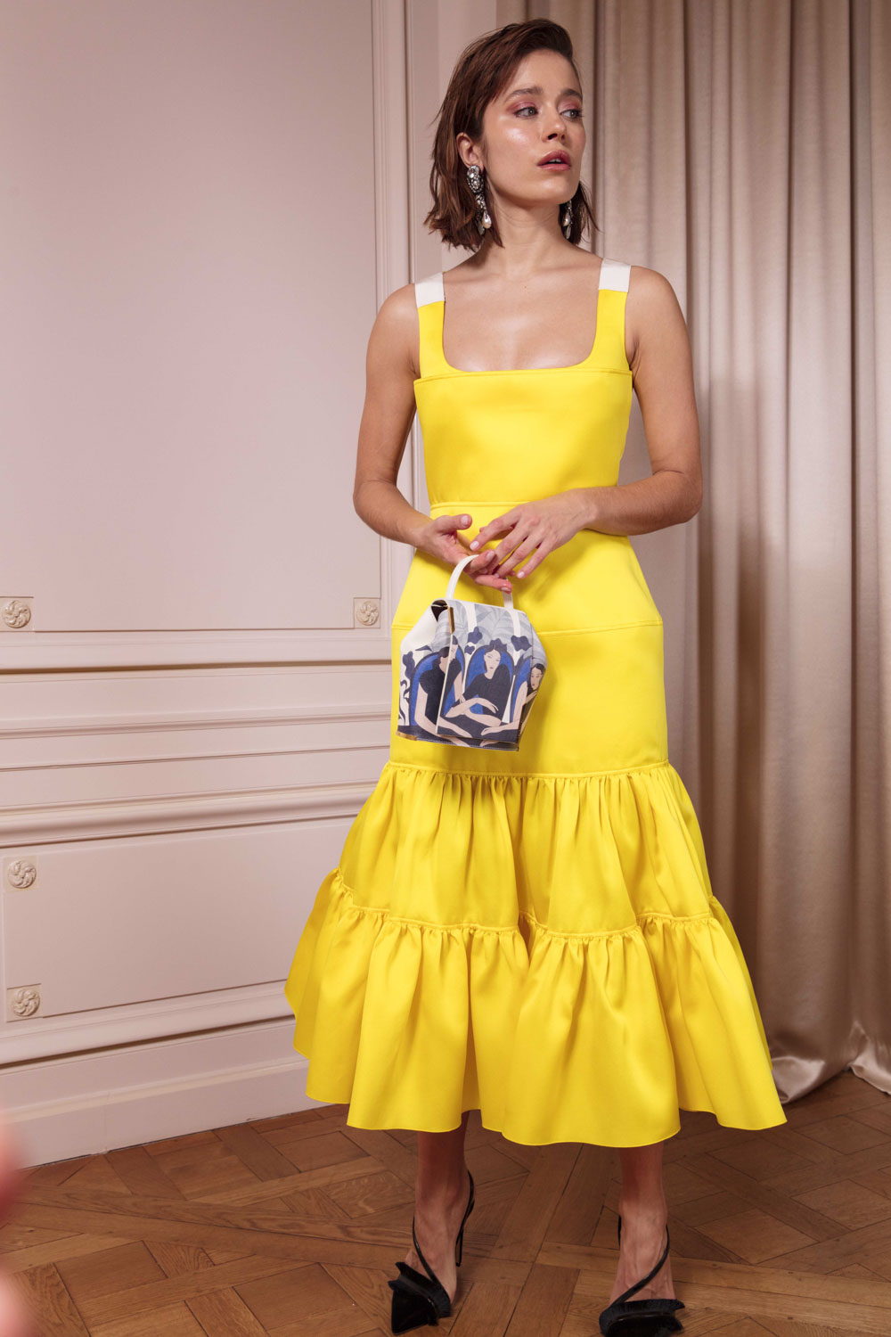 409a01bf7 boutiquelessuites.com - LesSuitesOnline buy Maison Rabih Kayrouz - Tiered  and ruched midi dress in canary yellow satin on our website