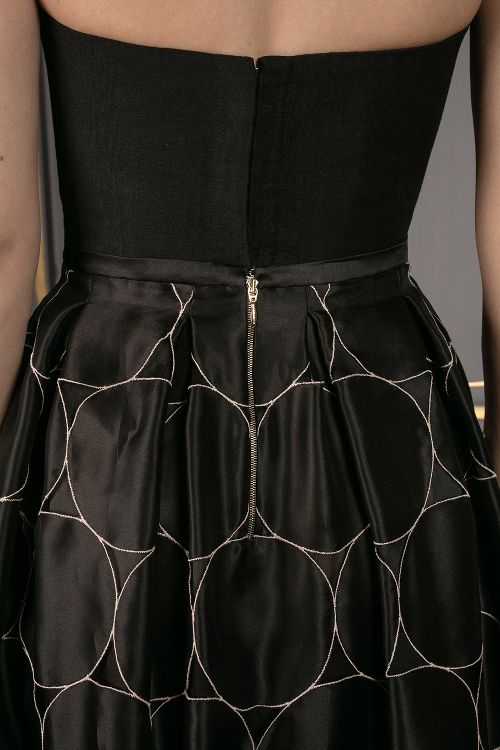 A-line skirt with circle detailing throughout