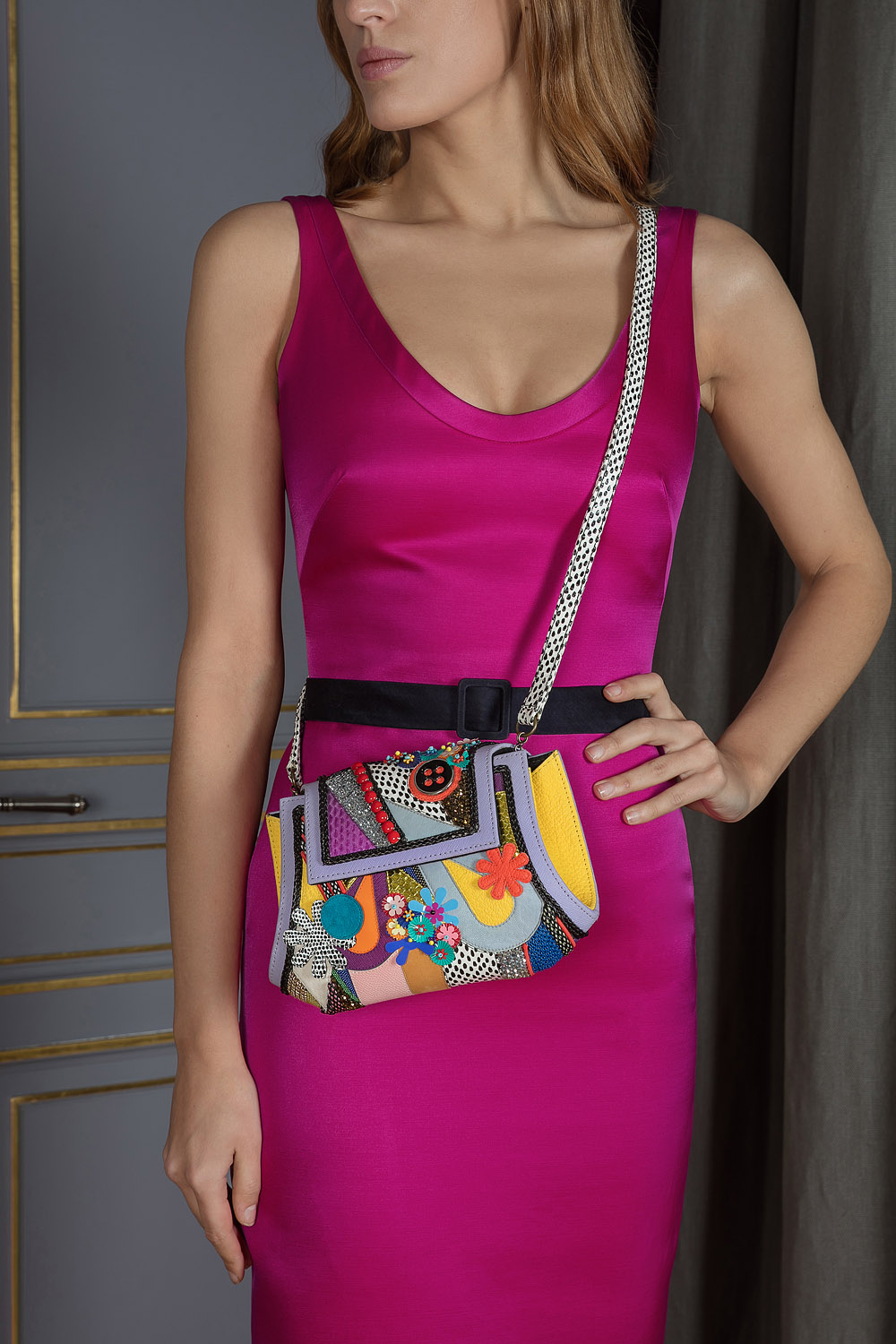 Multicoloured handcrafted embroidered and beaded shoulder and hand bag