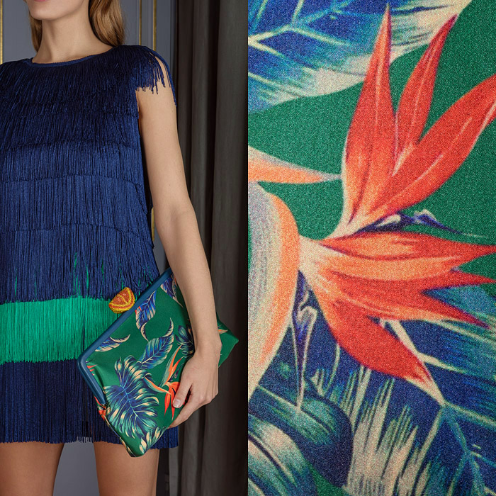 Large clutch in green with tropical print