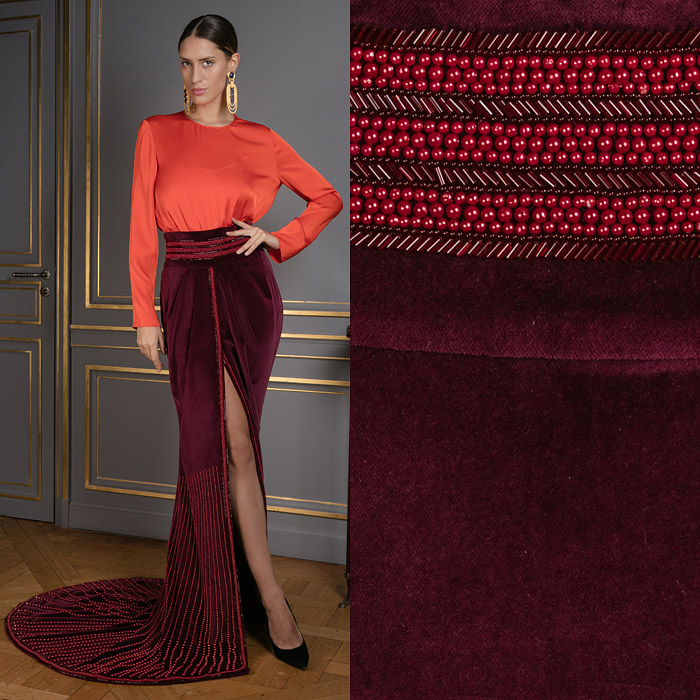 Exclusive bordeaux skirt with a slit and a train