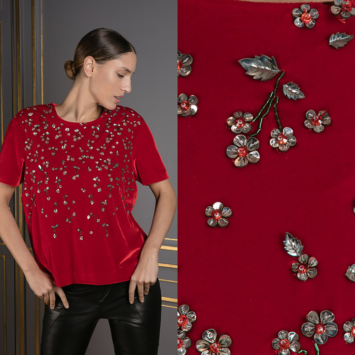Exclusive red top with flower embellishment
