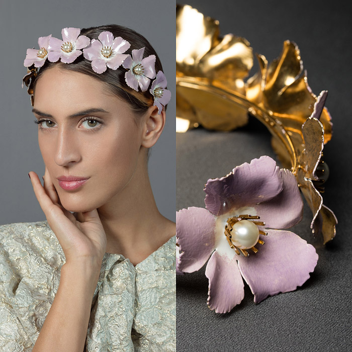 LILAC HAND PAINTED, GOLD METAL AND PEARL FLOWER DECORATED HEAD PIECE