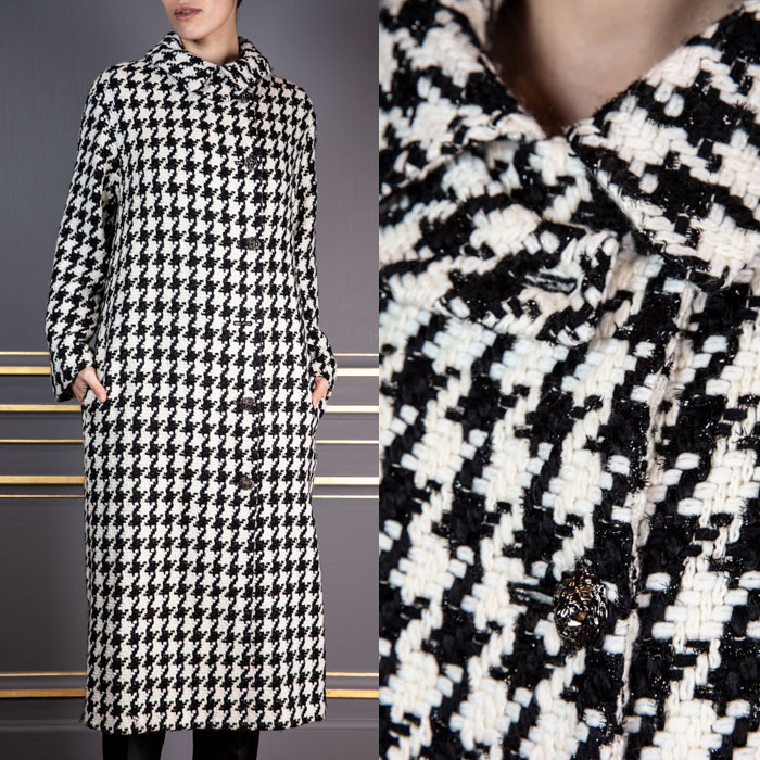 Houndstooth button up coat