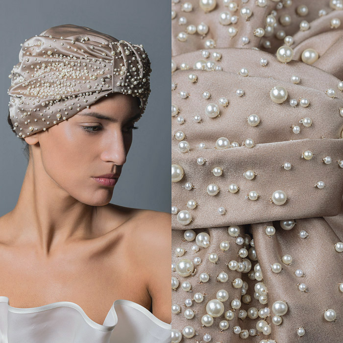 IVORY RUCHED SATIN AND PEARL EMBELLISHED TURBAN