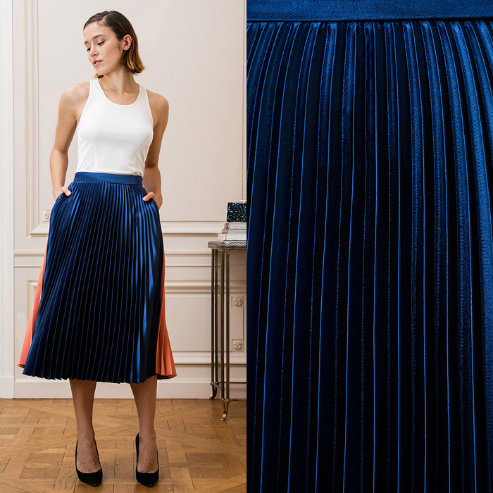 Navy and orange midi skirt