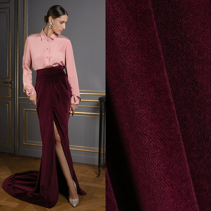 Exclusive burgundy skirt with a train