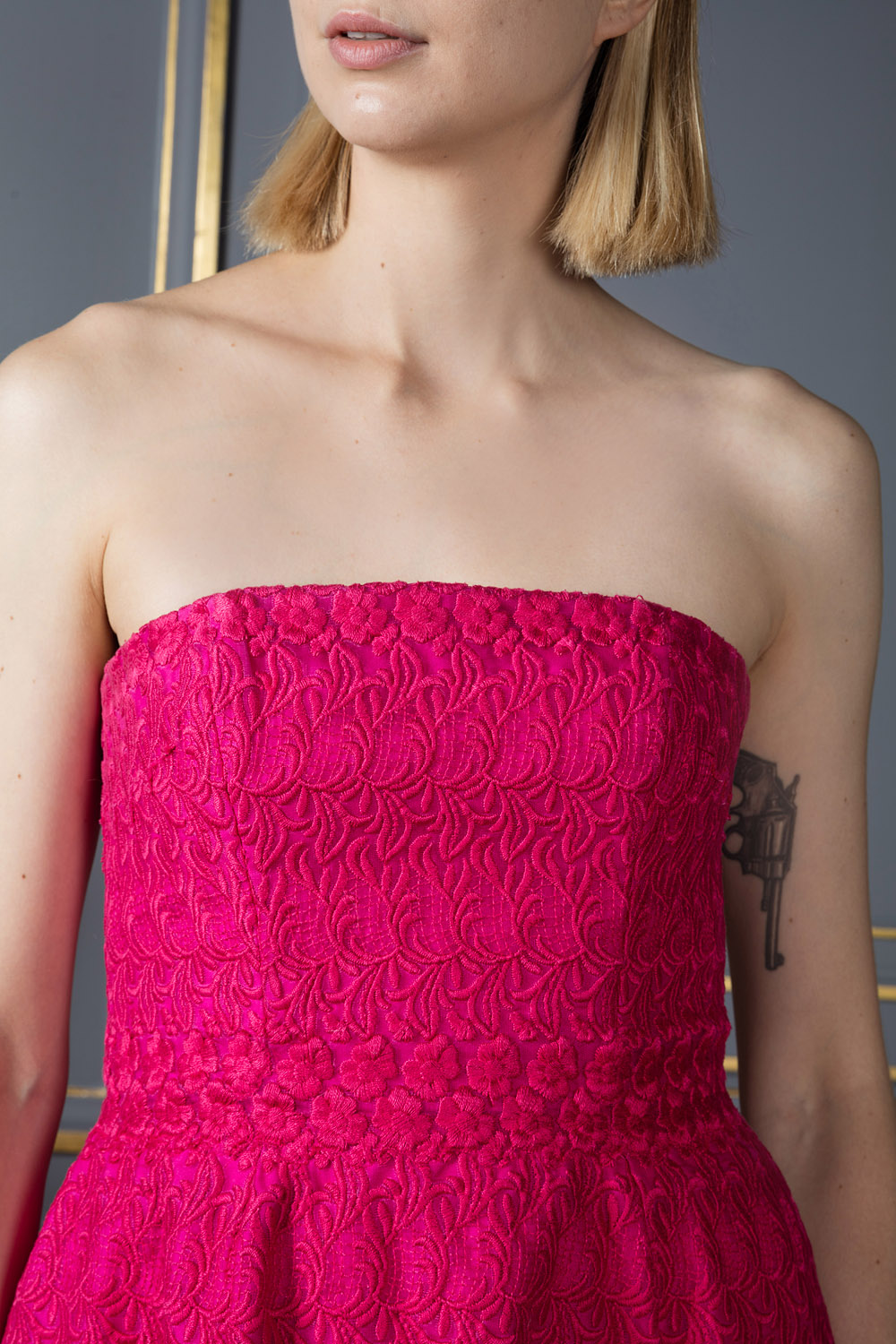 Strapless fuchsia mini dress