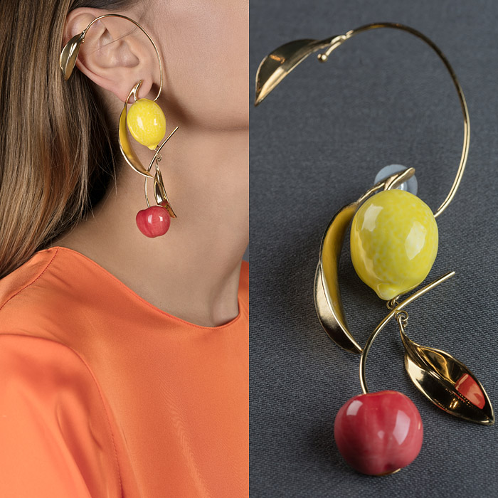 Gold metal earrings with yellow and raspberry hand-painted ceramic fruits