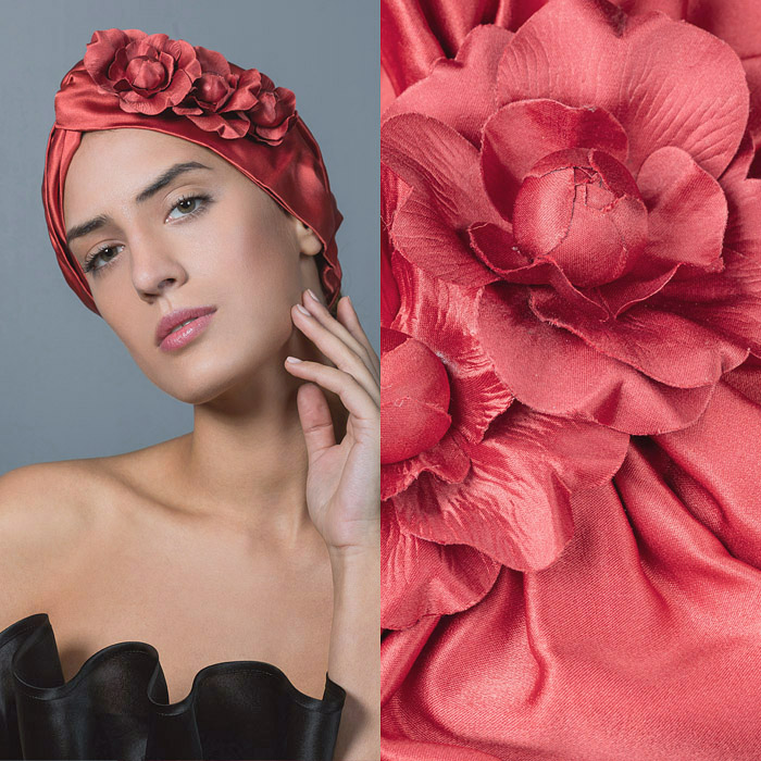 CORAL RUCHED SATIN HEAD BAND DECORATED WITH CORAL SATIN FLOWERS