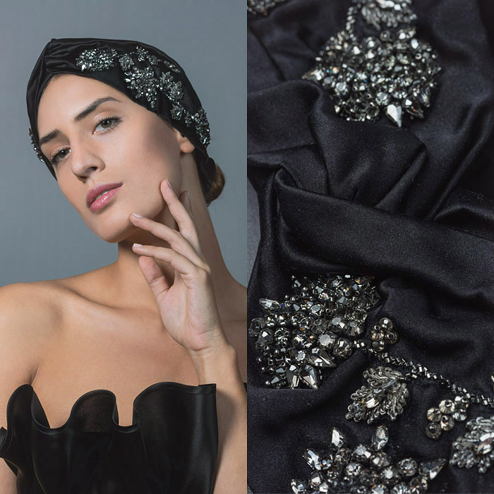 BLACK TWISTED SATIN FABRIC ALICE BAND EMBELLISHED WITH SWAROVSKI CRYSTAL FLOWER DESIGN