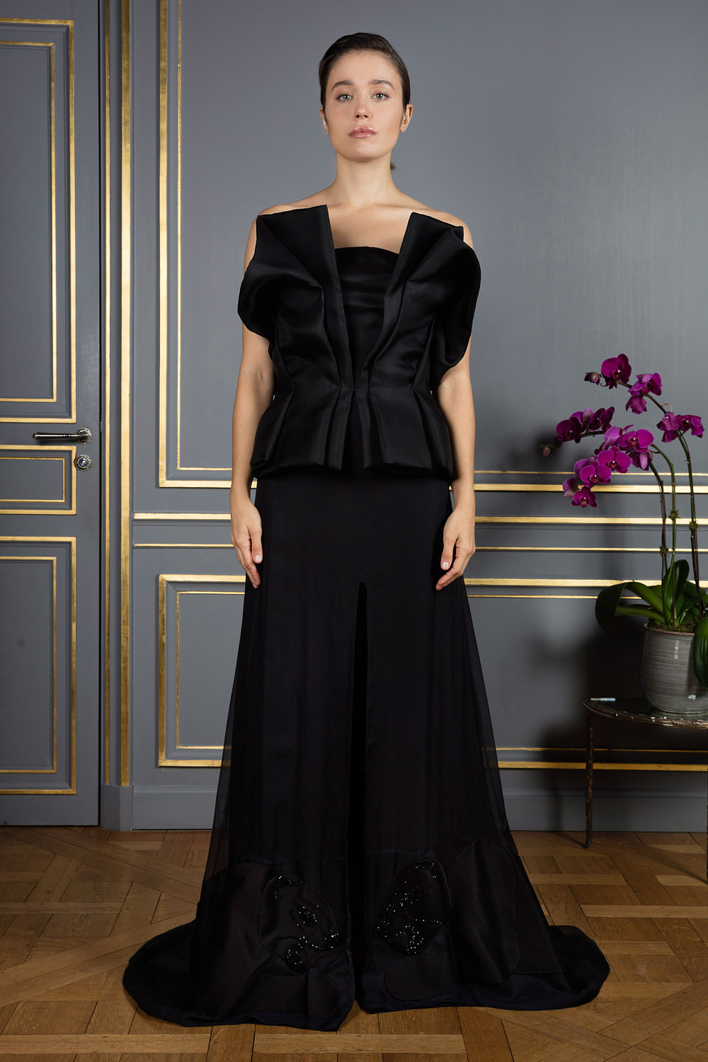 Black strapless gown