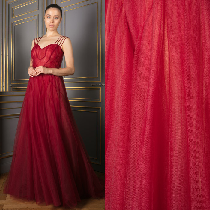 gown in layered tulle with sweetheart neckline