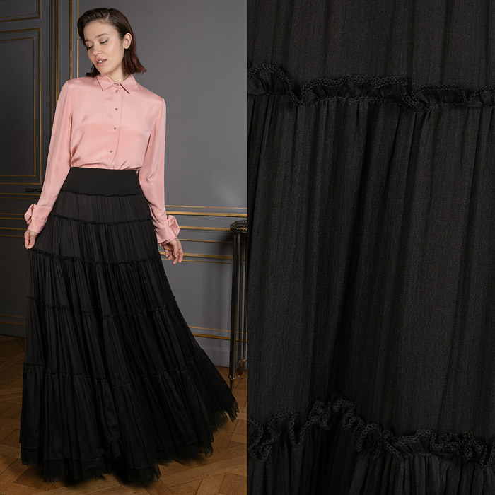 Exclusive tiered black skirt