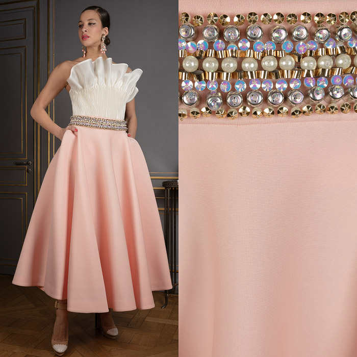 Ankle-length skirt with an embellished waistline