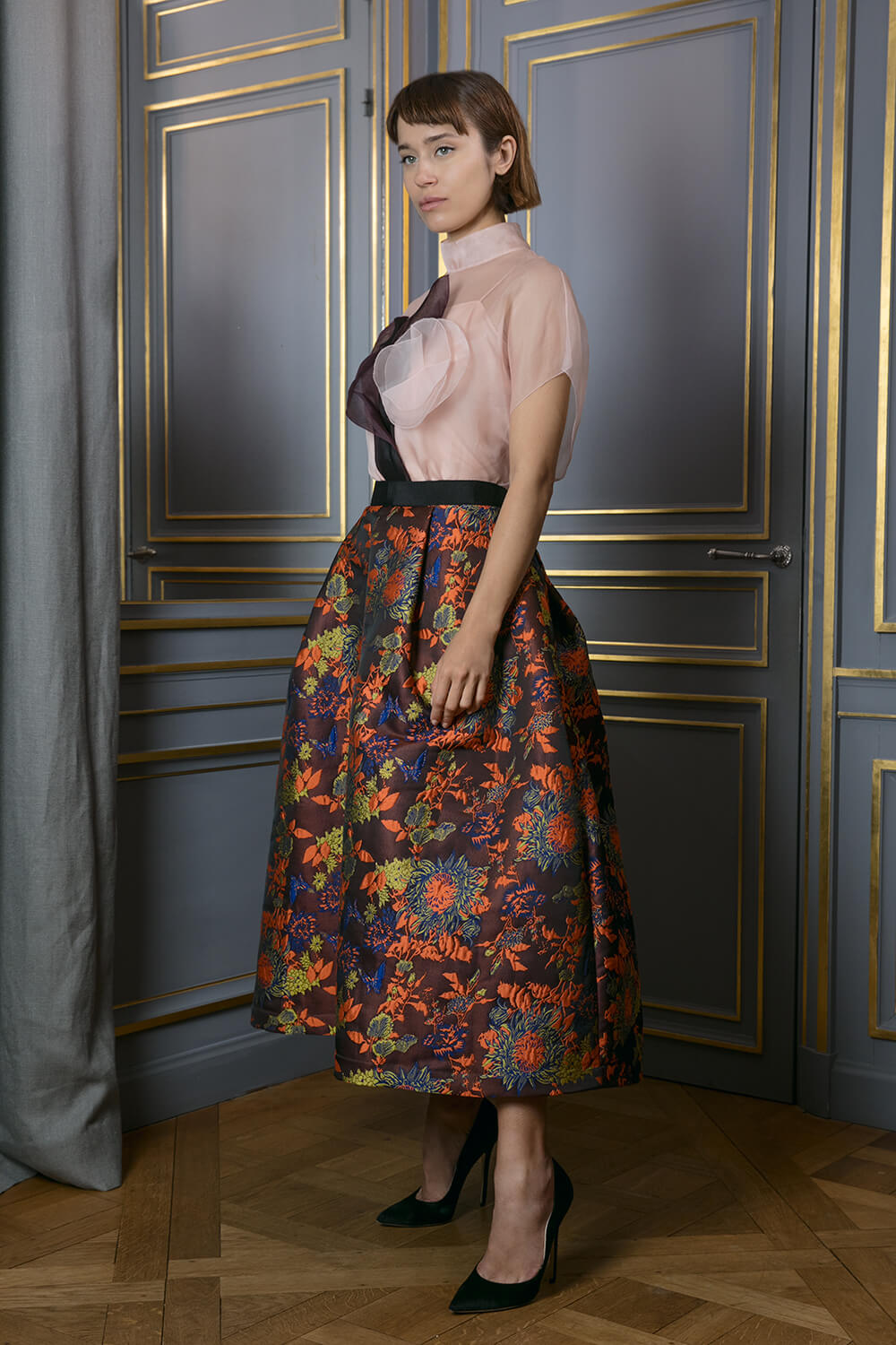Metallic floral printed full midi skirt