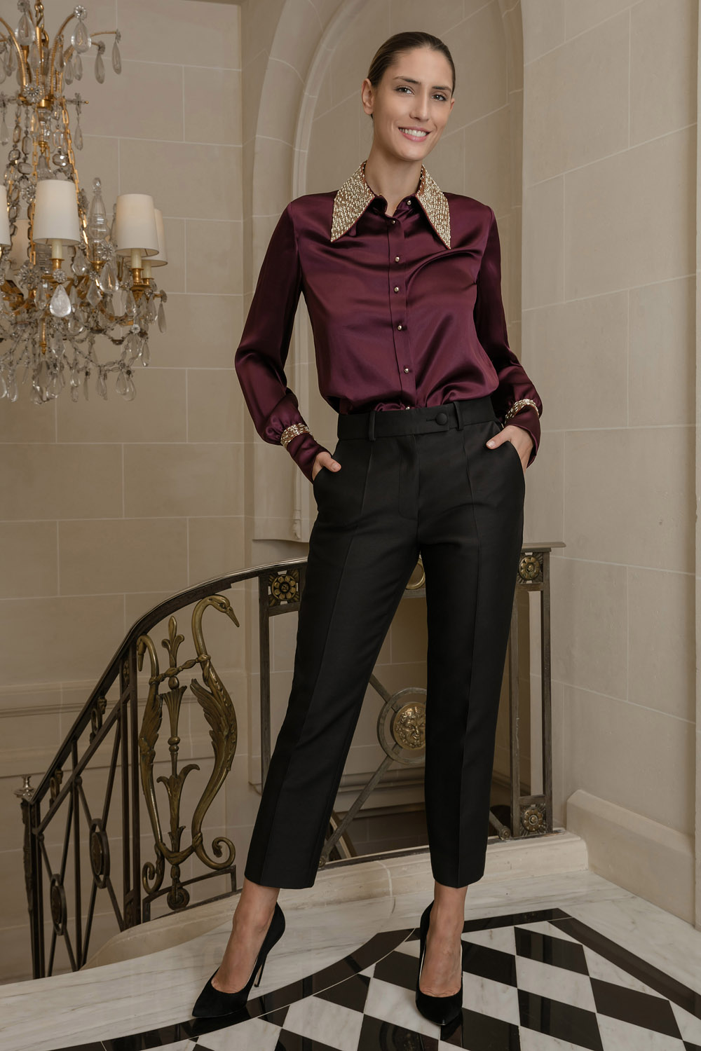 Silk black shirt with an embroidered collar