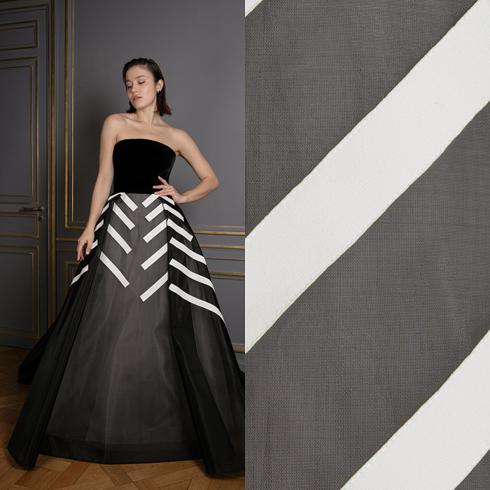 Black and white princess gown