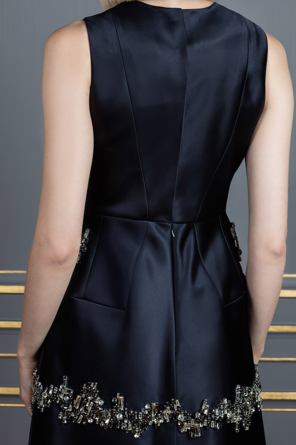Black A-line dress with glass embroidery