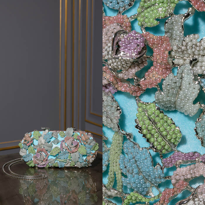 Exclusive sky blue jewel encrusted minaudière