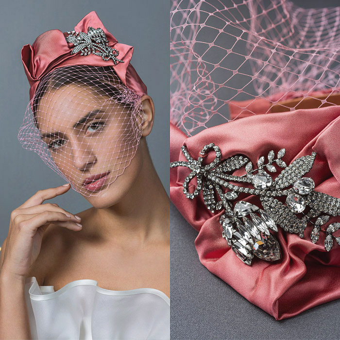 PINK RUCHED SATIN VEILED HEAD BAND EMBELLISHED WITH SWAROVSKI CRYSTAL FLOWERS